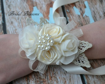 Ivory Chiffon Satin Flower Wrist Corsage | Vintage Inspired Wedding | Mother of the Bride | Bridal Baby Shower | Pearl | Boutonniere Cream