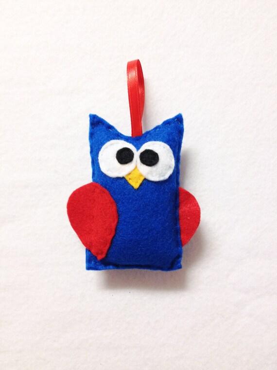 Owl Ornament, Christmas Ornament, Felt Ornament - Americus the Owl, Blue and Red