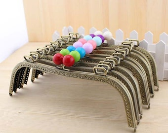 1 PCS,  26cm / 10 inch M Shaped Sew in Solid Beaded Brass Kiss Clasp Lock Purse Frame with Square Hoops, C42