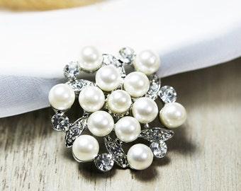 Clear Crystal Brooch Rhinestone Brooch Pearl Brooch Bouquet Brooch Pin Cake Decoration Crystal Brooch Wedding Invitation Wedding Embellish