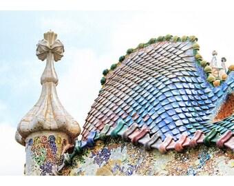 Casa Batlló, Barcelona, Spain, Antoni Gaudí, tile masterpiece, Spanish architecture, Spain home decor, fine art photography, colourful tile