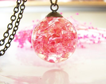 Resin Jewelry Real Flower Necklace Resin Necklace Pink Jewelry Baby Breath Necklace Real Flower Jewelry