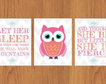 Let Her Sleep For When She Wakes And Though She Be But Little She is Fierce Nursery Wall Art Coral Pink Teal Chevron Owl 8x10 set of 3 (130)