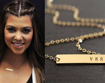 Engraved necklace, Gold Bar Necklace, Initial Bar, Engravable bar, Custom Name necklace, Name plate bar Horizontal necklace Bridesmaids gift