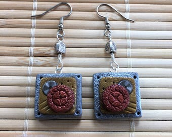 Industrial Style Steampunk Square Shape Dangle Earrings - Clay & Metal Jewelry for Woman Her Gift for Wife Girlfriend Mother Mom