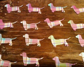 Plaid wiener dog dachshund paper cut outs