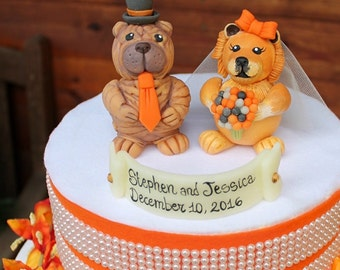 Wedding dog cake topper, Chow Chow and Shar Pei cake topper, custom bride and groom cake topper, pet cake topper, wed