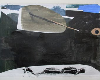 Snow Day, Original Abstract Collage Painting on Paper, Stooshinoff