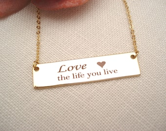 Personalized Gold bar necklace... Double lined Engraved Bar, sorority, best friend gift, wedding, bridesmaid gift