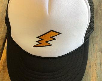 YOUTH / TEEN Lightning Bolt Patch Trucker Hat Baseball Cap Snap Back