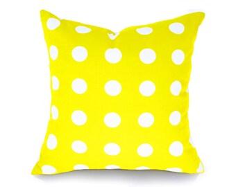 Yellow Polka Dot Pillows, Yellow White Pillow,  Sunshine Yellow Pillow Cover, Girl Bed Pillows, Neon, Yellow Throw Pillows, 12x18, 18x18