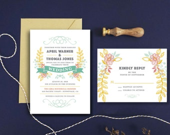 Botanical Wedding Invitation RSVP Card - Botanical Wedding Floral Wedding Invitation Woodland Wedding Printed Wedding Invitation Set