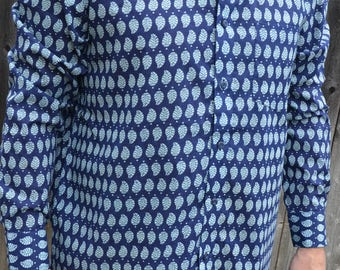 Men's Handmade Long Sleeve Button Down Indian Cotton Shirt - Navy with Blue Leaves Print - Fabio I939