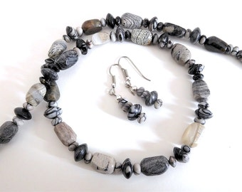 Neutral Colors Jasper Necklace and Earrings Set (Item Z 14)