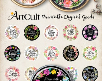1 + 1.2 + 1.5 inch (25, 30, 38 mm) size Printable download BIBLE VERSES circle images for round pendants, cabochons, magnets, ArtCult design