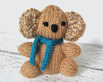 Hand Knit Stuffed Animal Mini Koala, Brown Gold Soft Nursery Toy, Newborn Baby Gift, Children Kids Birthday Present, Little Plush Bear