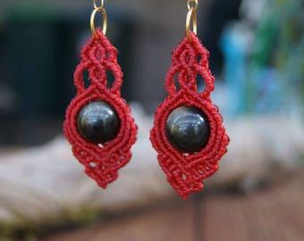 Gold Sheen Obsidian Macrame Drop Earrings
