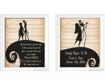 The Nightmare Before Christmas Art 2 Print Set Personalized Jack and Sally Quote Prints With Names And Date Wedding Decor Engagement Gift