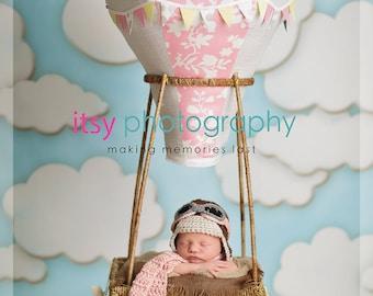 Newborn Aviator Hat, 3 Piece Set, Aviator, Goggles, Scarf, Brown, Pink, Baby, Girl, Newborn Photo Prop, Ready to Ship