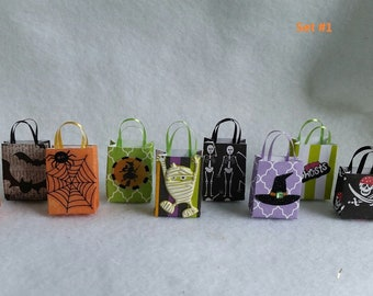 Miniature Halloween Bags and Other Decorations (1/12th Dollhouse scale)