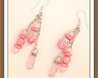 Handmade MWL pink crystal dangle earrings 0156