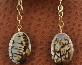 Dragon Veins Agate gold Earrings