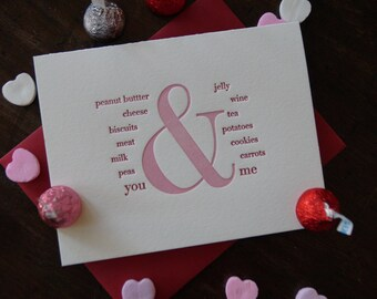 you & me letterpress card