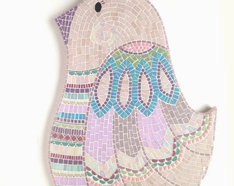 Quail Art, Pink Mosaic Quail, Mosaic wall art