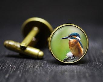 Humming Bird Cuff Links, Bird Cuff Links, Blue Birtd Cuff Links, Bird Cufflinks