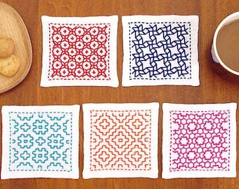 Olympus Sashiko Coaster Kit 5 Pcs with Cloth and Threads  - Traditional Japanese Craft