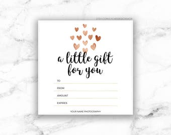 Gift certificate etsy printable rose gold hearts gift certificate template editable gift card design microsoft word saigontimesfo