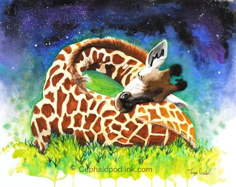 Giraffe #6 Art Print Watercolor 8x10