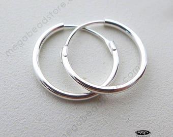 14mm Sterling Silver Hoop Earring Endless Hoop earwire F336