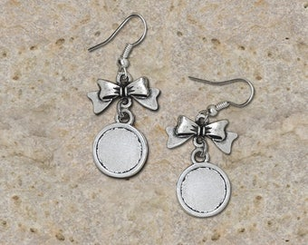 Earrings support cabochon 12 mm bow