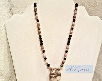 """Women's Necklace: Azabache, Rhodonite, 925 Sterling Silver Beads & Closure """"Shine""""  Free Shipping World-Wide"""