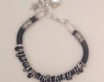 Leather Bracelet, Wire Wrapped Bracelet, Beaded Bracelet, Best Selling Jewelry, Charm Bracelet,Gift Ideas,Leather Jewelry,Wrapped Bracelet