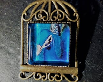 square Peacock brooch