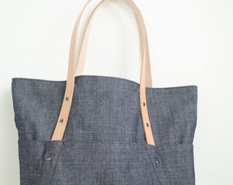 Gift for her Gift for women Gifts for mom Tote bag with matching zipper bag Canvas Mothers day gift Shoulder Bag Birthday gift Denim