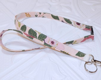 Pink Floral Breakaway Safety Lanyard - Badge Holder - Key Lanyard - Teachers Gifts - Cute Key Chain - Lanyard With Id Holder - Id Holder