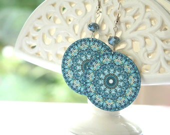 Brilliant Blue Mandala Earrings, Blue Millefiori, Big Round Earrings
