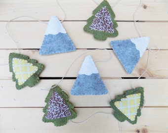 Mountain and Tree Garland - Woodland, bunting, decor, decoration, wall hanging, forest, home