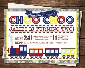 Train Birthday Invitation, Train Birthday, Train Invitation, Choo Choo Birthday Invitation, Choo Choo Invitation, Choo Choo Party, Conductor