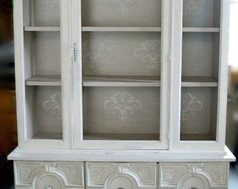 SOLD | Antique white shabby-chic hutch, white china cabinet, distressed furniture, chalk painted furniture, off-white cottage style