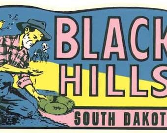 Vintage Style Black Hills South Dakota Travel Decal sticker