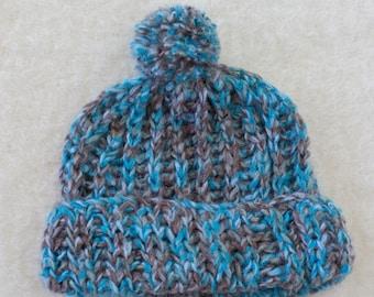 Brioche Knit Mohair Pom Pom Slouch Hat