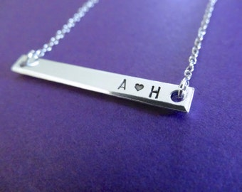 Initial Bar Necklace - Initials - Bar Necklace