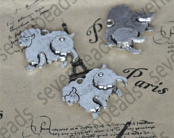 12pcs Sheep Charms Antique silver Tone Connector pendant,metal pendant finding,Charms Silver Connector pendant findings beads
