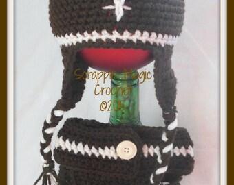 Crocheted Football Photo Prop ~Newborn ~ baby ~ infant ~ sports