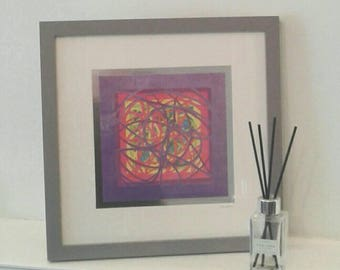 RAINBOW LAYERED PAPERCUT  - framed paper-cut - abstract framed picture