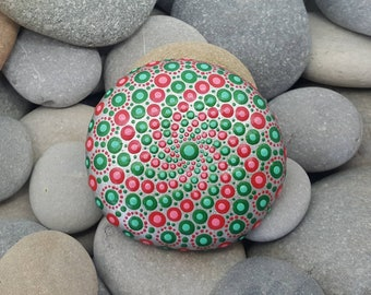 Red & Green Painted Rock - Mandala Stone - Painted Rock - Mandala Rock - Meditation - Zen - Dotilism - Rock Art - Mandala Art